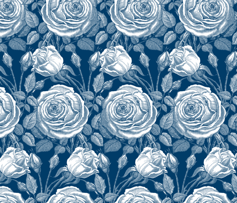 Perle des Jardins ~ Lonely Angel Blue and White fabric by peacoquettedesigns on Spoonflower - custom fabric