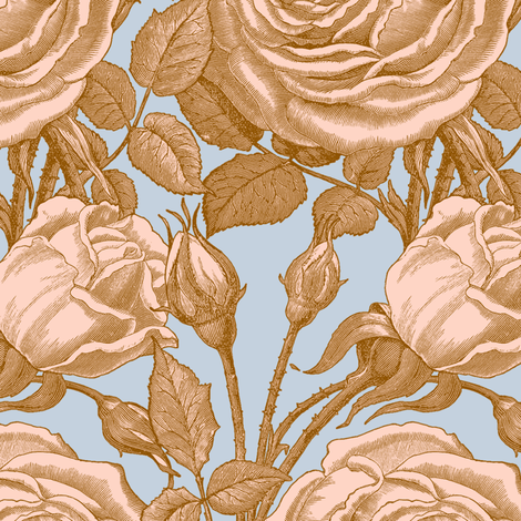 Perle des Jardins ~ Baronial and Lauffer on Versailles Fog fabric by peacoquettedesigns on Spoonflower - custom fabric