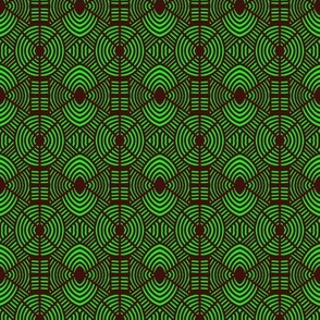 Crossed Ovals and Circles Green