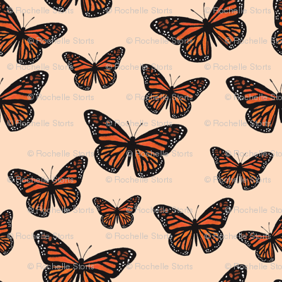 Monarch Butterflies Peach