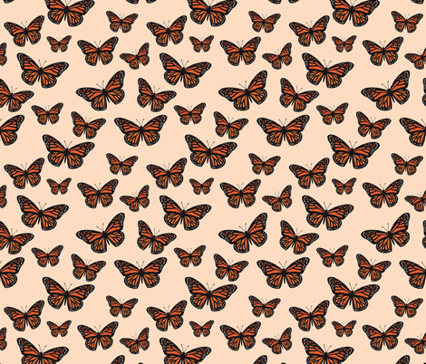 Monarch Butterflies Peach fabric by houseintheorchard on Spoonflower - custom fabric