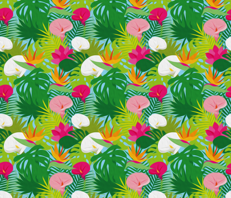Jungle-Flowers and Plants fabric by leventetladiscorde on Spoonflower - custom fabric
