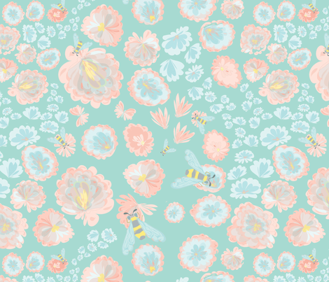 Bumble Bee and Cherry Blossom fabric by mainsail_studio on Spoonflower - custom fabric