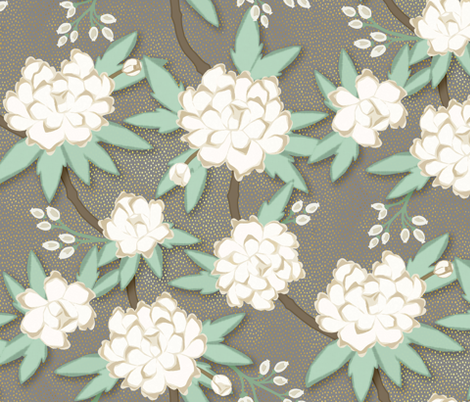 Paeonia in White on Luxe Gray fabric by willowlanetextiles on Spoonflower - custom fabric