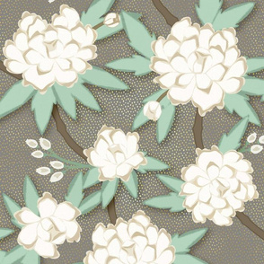 Paeonia in White on Luxe Gray