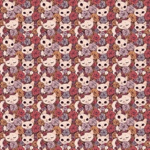 Floral with White Cats