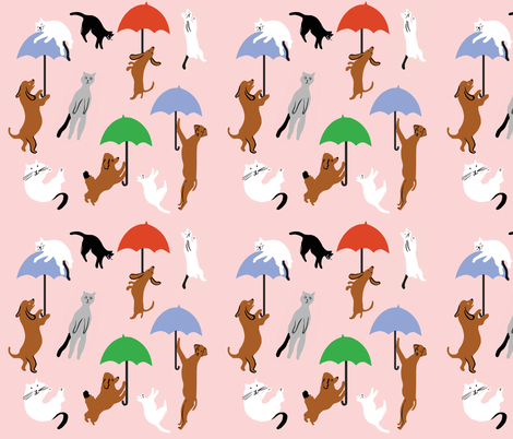 Raining Cats and Dogs  fabric by lucie_sheridan_ on Spoonflower - custom fabric