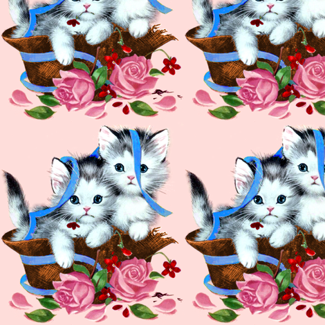 cats kittens pussy baskets roses flowers ribbons vintage retro kitsch whimsical cute adorable fabric by raveneve on Spoonflower - custom fabric