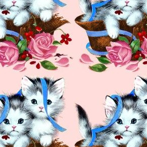 cats kittens pussy baskets roses flowers ribbons vintage retro kitsch whimsical cute adorable