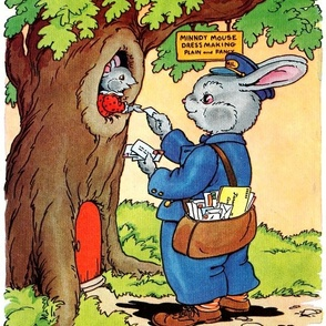 trees mouse rats mice rabbits bunny hares mailman postman delivery envelopes mail trees countryside vintage retro kitsch whimsical courier