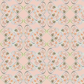 fantasy floral, pale peach