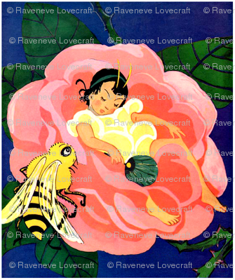 vintage retro kitsch fairy tales girls children bees insects flowers roses sleeping fantasy fairies