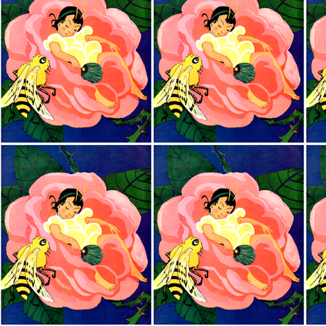 vintage retro kitsch fairy tales girls children bees insects flowers roses sleeping fantasy fairies fabric by raveneve on Spoonflower - custom fabric