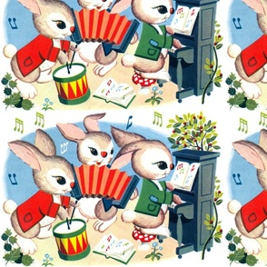 rabbits bunny musical notes band musicians leaves flowers drums accordion books mushrooms toadstools pianos cherry cherries bushes trees quavers