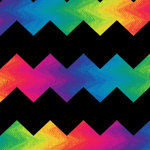 black and rainbow chevron