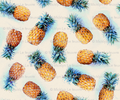 Painted Pineapples on Cream