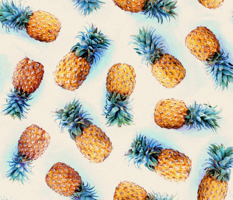 Painted Pineapples on Cream fabric by micklyn on Spoonflower - custom fabric
