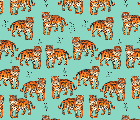 CanopyTigerTurquoise fabric by milchundhonig on Spoonflower - custom fabric