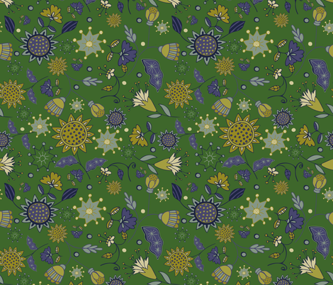 morocco floral Kelly fabric by jennifergeldard on Spoonflower - custom fabric