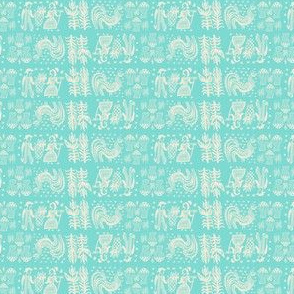 White On Turquoise Butterprint Design