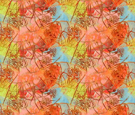Carnation Fans in Color fabric by greenlotus on Spoonflower - custom fabric