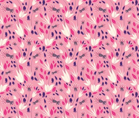 Fuchsia Pink Dandelions fabric by bermudezbahama on Spoonflower - custom fabric