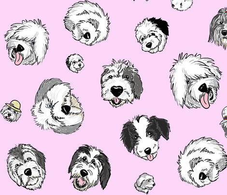 OES Faces Light Pink fabric by creativeworksstudios on Spoonflower - custom fabric