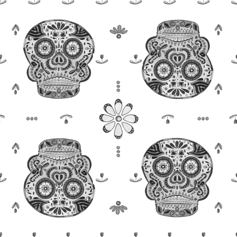 Floral Skull fabric by jackieatweelife on Spoonflower - custom fabric