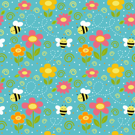 Bee Happy! fabric by clayvision on Spoonflower - custom fabric