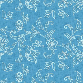 Floral with bees on blue