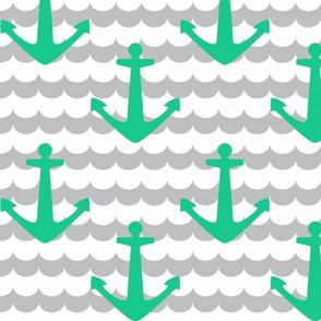 Nautical - Anchor Cyan