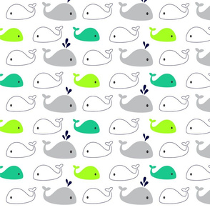 Nautical - Whales Teal and Lime Green