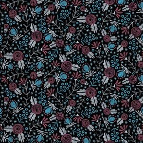 Black Folksy Floral