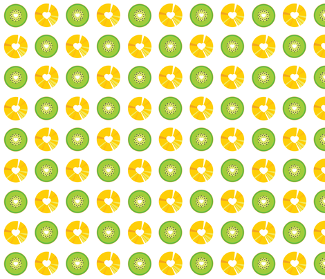 Pineappple and Kiwi fabric by jackieatweelife on Spoonflower - custom fabric