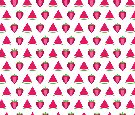 Strawberry and Watermelon fabric by jackieatweelife on Spoonflower - custom fabric