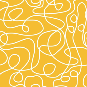 Doodled White Lines on Mustard Yellow Background
