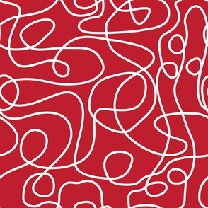 Doodled White Lines on Cherry Red Background