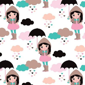 Adorable girl with umbrella in rain drop hearts illustration pattern