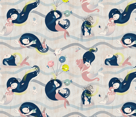 SIRENS and the Blowfishes* fabric by boomexd on Spoonflower - custom fabric