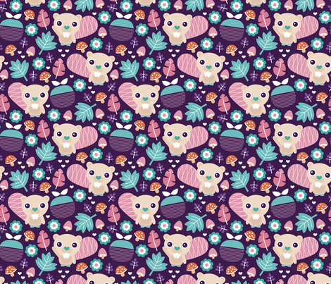 Cute little beaver fruit flowers and leaf fall woodland theme for girls fabric by littlesmilemakers on Spoonflower - custom fabric
