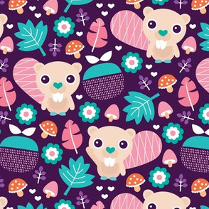 Cute little beaver fruit flowers and leaf fall woodland theme for girls