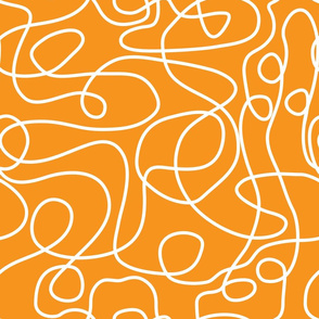 Doodle Line Art | White Lines on Orange Background