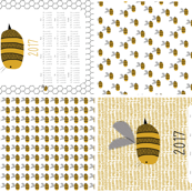 2017 calendars on a yard, Bees