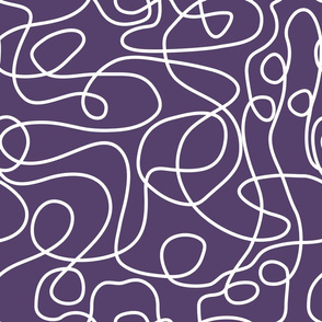 Doodle Line Art | White Lines on Purple Background