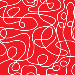 Doodle Line Art | White Lines on Red Background