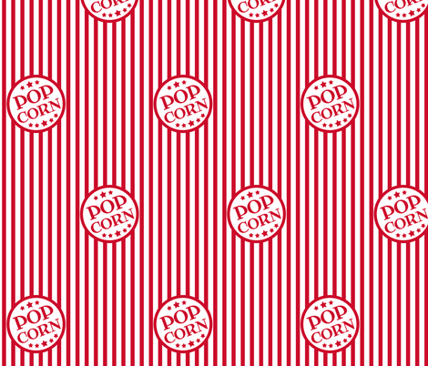 Fresh Delicious Popcorn (Christmas red, smaller) fabric by weavingmajor on Spoonflower - custom fabric