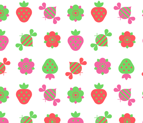 bees and strawberries fabric by jevaart on Spoonflower - custom fabric