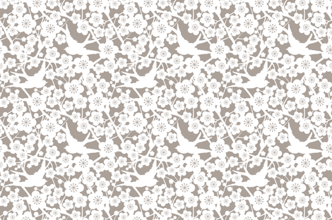 Cherry Blossom - Soft Taupe fabric by stitchstapleglue on Spoonflower - custom fabric