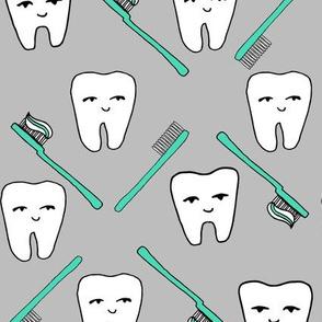 Happy Teeth - Light Grey, Light Jade by Andrea Lauren
