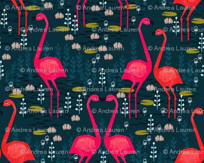 Flamingo - Dark Navy Blue